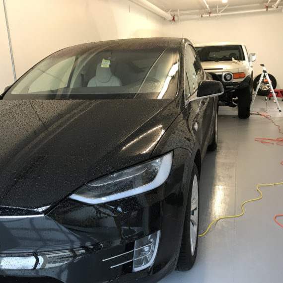 Opti Coat on Tesla Model X: after hand car wash. Ready for Opti Coat