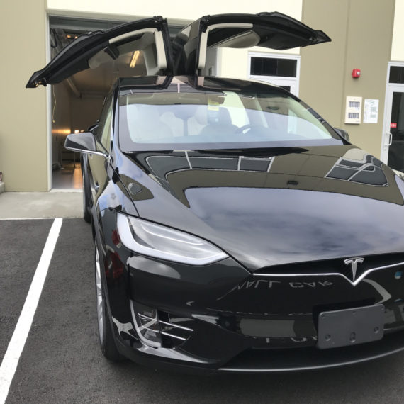 Opti Coat on Tesla Model X: front view with doors open