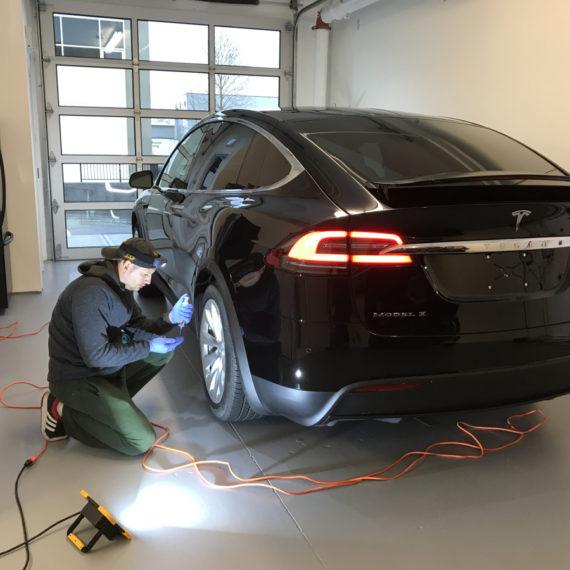 Opti Coat on Tesla Model X: applying ceramic coating to wheels