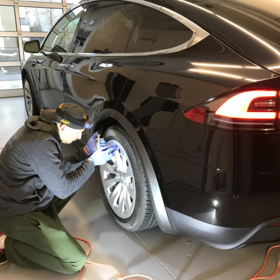 Opti Coat on Tesla Model X: applying ceramic coating to wheels