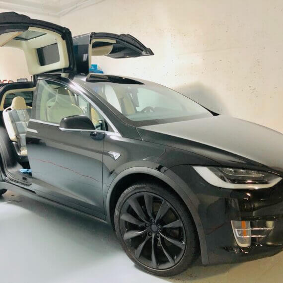 Tesla Model X coated with Opti Coat Ceramic Coating in Vancouver by Gleamworks Detailing.