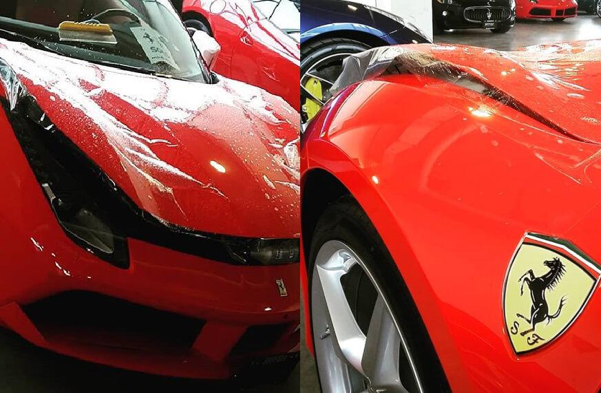 Paint protection film on a Ferrari