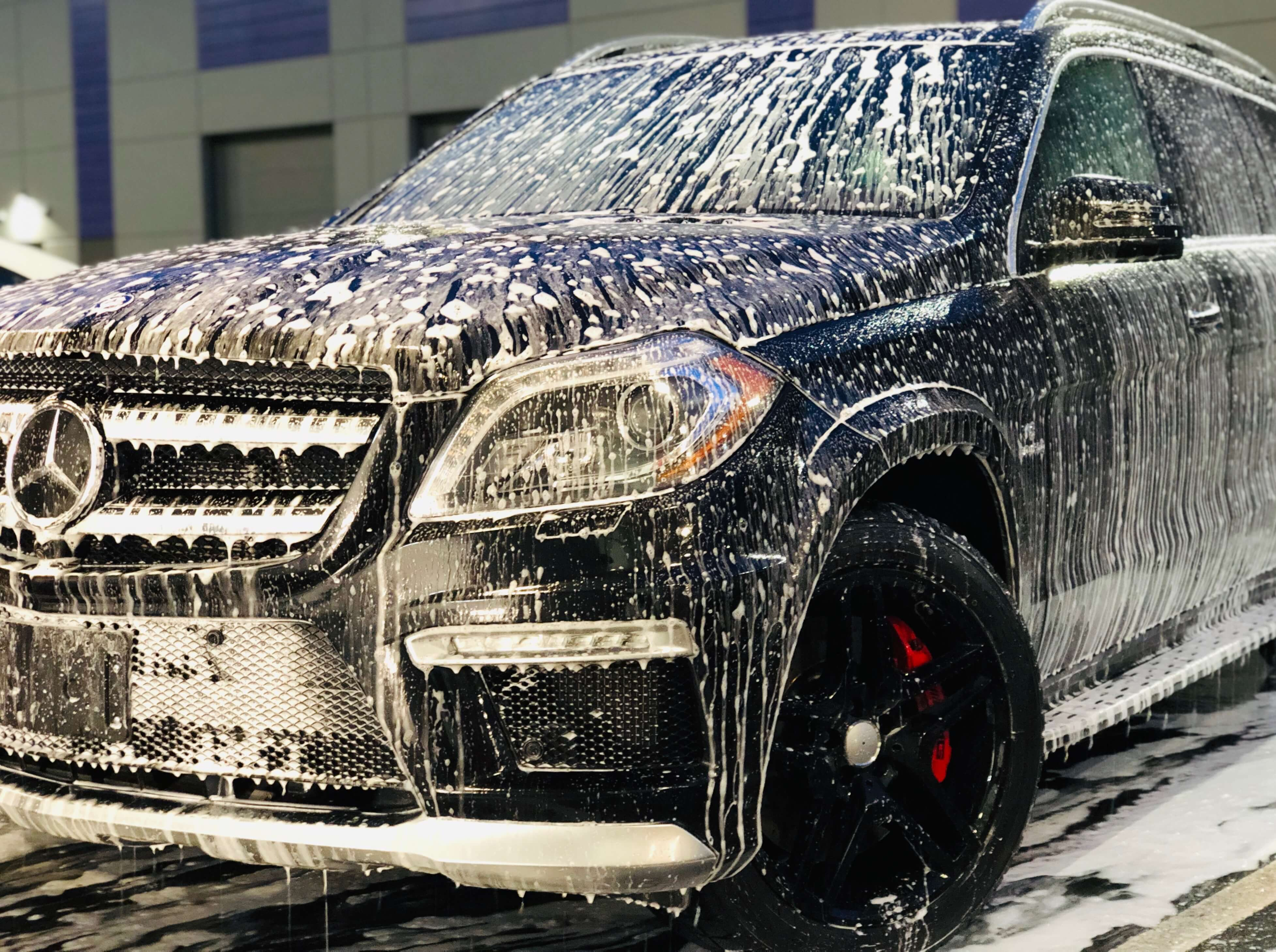 Maintenance of Ceramic Coating on a Mercedes SUV at Gleamworks Detailing in Vancouver, BC